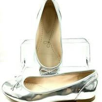 Clarks Somerset Couture Bloom Flat Womens Sz 8.5m Silver Bow Slip on Ballet Shoe Photo
