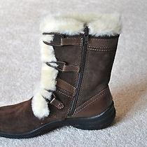 Clarks Women's Brown Honeydew Faux Fur Trimmed Mid-Calf Leather Boots - Size 6.5 Photo