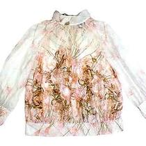 Class Roberto Cavalli Gorgeous Pure Silk Sheer Rose Printed Blouse Photo