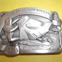 Classic 1984 Vintage American Snowmobiling Belt Buckle Bergamot Brass Works 296 Photo