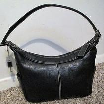 Classic Authentic Fossil Black Leather Hobo Bag Designer Purse W Key  Nice Photo