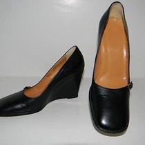 Classic Bally Italy Shoes Sz 36.5 / 6 Creil Black Leather Wedge Pumps Mint Photo