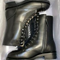 Classic Chanel 40 9.5 Combat Boots Lace Up Black Instagram Blogger Shoes Brooch Photo