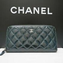 Classic Chanel Quilted Patent Leather Clutch Wallet (Dark Teal).  Zip Around. Photo