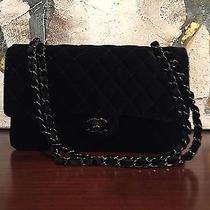 Classic Chanel Velvet Flap Bag-Black on Black Photo