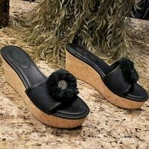 Classic Coach Jazmin Black Canvas & Leather Cork Platform Wedge Sandals Us 7 Photo