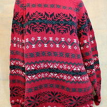 Classic Eddie Bauer Xl Nordic Winter Red Green Navy Christmas Sweater Preowned Photo