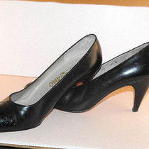 Classic Elegant Salvatore Ferragamo Black Calfskin Pumps W/lizard Toes  6.5b Photo