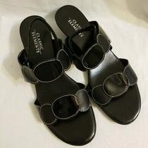 Classic Element Barnes Strappy Low Wedge Black Patent Sandals 8m Photo