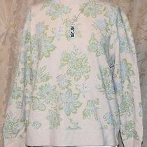 Classic Element Pretty Floral Print Sweatshirt Tunic Pastel Green Blue Gray Xl Photo