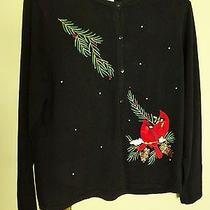Classic Element's Women's Cardigan Sweater Size L Large Bird Design Photo