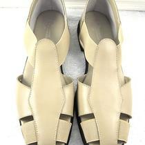 Classic Elements Beige Leather Flats W/elastic Straps Size 11 New Photo