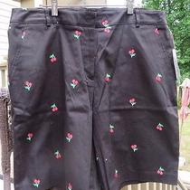 Classic Elements Black Bermuda Shorts With Cherry Detail Misses Size 14 Photo