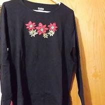 Classic Elements Black Christmas Holiday Blouse Ls Tee Poinsettias Size Large Photo