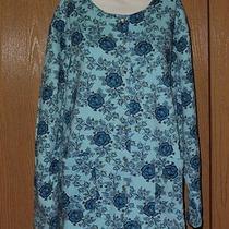 Classic Elements Blue Clip on Sweatshirt W Floral Design Sz 20/22w Bust 54