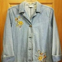 Classic Elements Blue Jean Jacket Embroidery Cuffed Sleeves Misses Size l(14/16) Photo