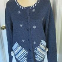 Classic Elements Blue Winter Silver/pearl  Beading Cardigan Sweater Sz L Photo