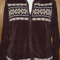 Classic Elements Brown Beige Ivory Hooded Zip Chenille Cardigan Sweater Sz Large Photo
