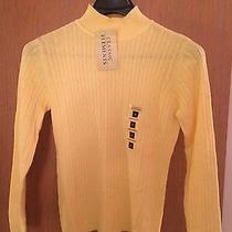Classic Elements Cable Mock Womens Sweater Yellow Msrp 36.00 Sm Nwt Photo