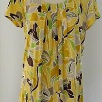 Classic Elements Cap Sleeve Yellow Brown Floral Top Size L Photo