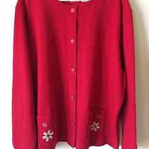 Classic Elements Cardigan Cotton Blend Red Snow Flake Sweater Plus Size 3x Photo