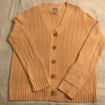 Classic Elements Cardigan Sweater Jacket - Chunky Cabled Linen & Cotton - Yellow Photo
