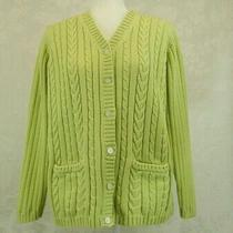 Classic Elements Cardigan Sweater Sz L Lime Green Cotton Cable Knit Button Front Photo