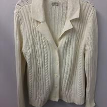 Classic Elements Cardigan Sweater Xl Ivory Cable Knit Long Sleeve Euc Photo
