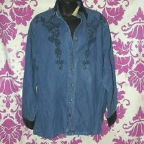 Classic Elements Denim Embroidered Jean Shirt Velvet Collar New Sears 10-12 M Photo