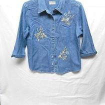Classic Elements Denim Floral Embroidered Button Shirt Top Womens Petite Size Mp Photo