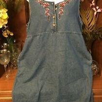 Classic Elements Denim Jumper/dress Sz. L (14-16)  Nice Floral Embroidery  Photo