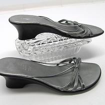 Classic Elements Italian Made Steel Gray Silver Strappy Wedge Heel Sandals 8 Photo