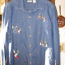 Classic Elements Jean Christmas Shirt. Sz. L Long Sleeves. Snow Men. Photo