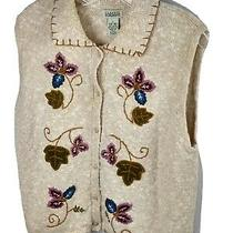 Classic Elements Knit Floral Embroidery Sleeveless Vest Cardigan L 14 16   T1 Photo