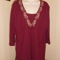 Classic Elements Ladies Knit Top Embroidered Yoke Xl Photo