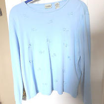 Classic Elements Light Blue Embroidered Knit Top - Xl Photo
