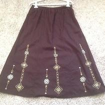 Classic Elements Mid Calf a-Line Skirt - Brown - Nwot - Size Med Photo