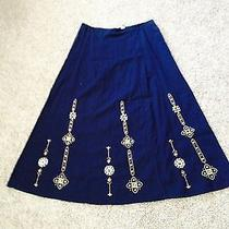 Classic Elements Mid Calf a-Line Skirt - Navy - Nwt - Size Med Photo