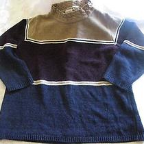 Classic Elements Navy/beige/wine Women's Petite M Pm Sweater  Photo