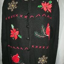 Classic Elements New Small Embellishedflocked & Embroidered Fun & Warm Sweater Photo