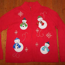 Classic Elements Not Ugly Christmas Sweater Red Snowmen Beads Holiday Photo