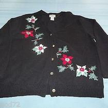 Classic Elements Petite Black Cristmas Winter Flowers Sweater Size L Cute Ugly Photo