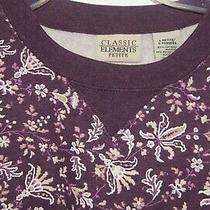 Classic Elements Petite Large Fleece Tunic Sweatshirt Berry Color Floral Pl Photo