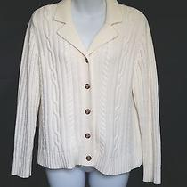 Classic Elements Petite Off-White Cable Knit Collar Cardigan Sweater Sz Lp R926 Photo
