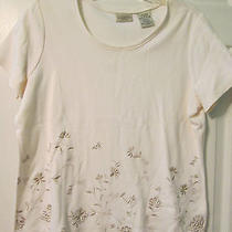 Classic Elements Petite Woman's Off White Short Sleeve Embroidered Shirt Size L Photo