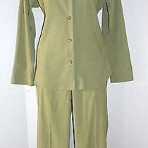 Classic Elements Petites  Size 8p    Soft Pistachio Green Micro-Suede Pants Suit Photo