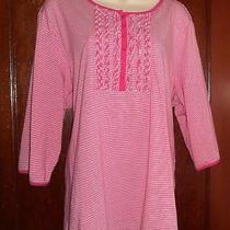 Classic Elements Pretty Pink Stripe 3/4 Sv Ruffled Henley Knit Top Womens 20/22w Photo