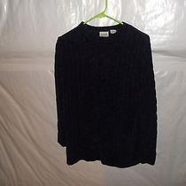 Classic Elements Purple Crew Neck Cable Front Sweater Size Large Photo