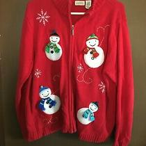 Classic Elements Red Christmas Sweater With Snowmen in Front Sz Xl Ramie Blend Photo
