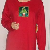 Classic Elements Red Embellished Christmas Long Sleeve  Table  Tee Nwt Sz L Photo
